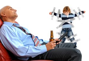 Father drinking beer while kid is tapped to the wall