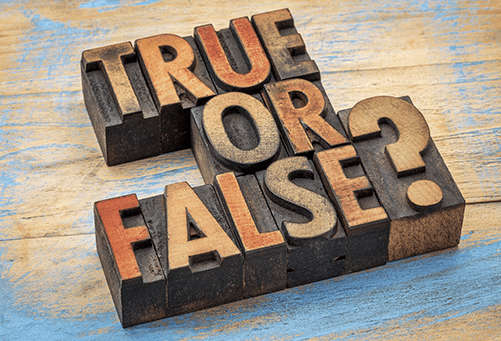 True of False written on blocks.